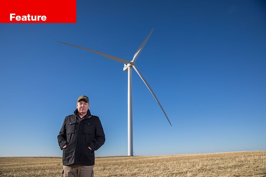 Marion Weatherford at his wheat and wind farm on the Columbia plateau