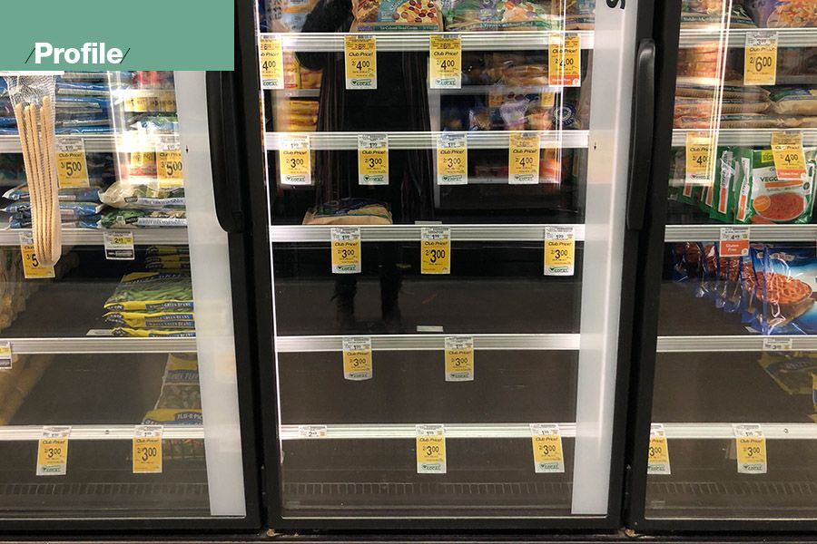 Freezer shelves in a Portland gorcery store nearly emptied of Flav-R-Pac frozen vegetables, a NORPAC Foods brand, in January.