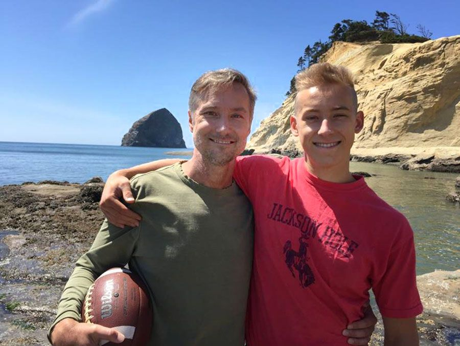 Steve Kokes and son Cameron in Pacific City (summer, 2016)