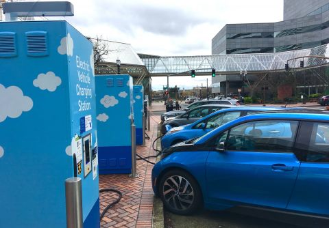 "PGE's ""Electric Avenue,"" a row of chargers outside the World Trade Center"