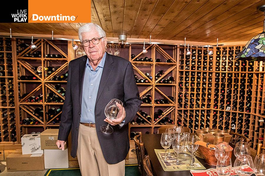 Robert Mesher, co-founder of Geffen Mesher, the accounting firm, in his wine cellar.