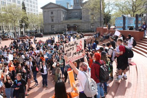 students rally at Pioneer Courthouse Square