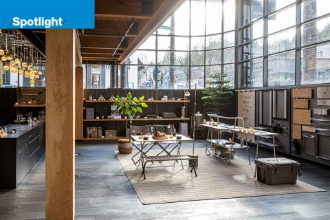 Outdoor retailer Snow Peak's new flagship store in Portland's Pearl District. The store will have a restaurant aimed at re-creating the experience of gathering around a campfire to eat a meal.