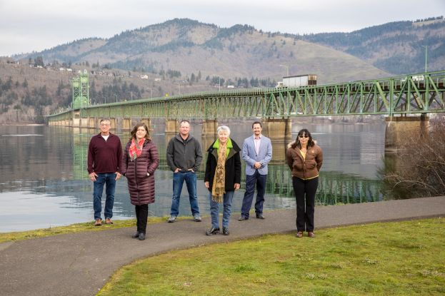 John Everitt, President, Port of Hood River; Marla Keethler, Mayor, White Salmon, WA.; Bob Benton, Hood River County Commissioner; Kate McBride, Mayor, Hood River, OR.; Jacob Anderson, Klickitat County Commissioner; Betty Barnes, Mayor, Bingen, WA.