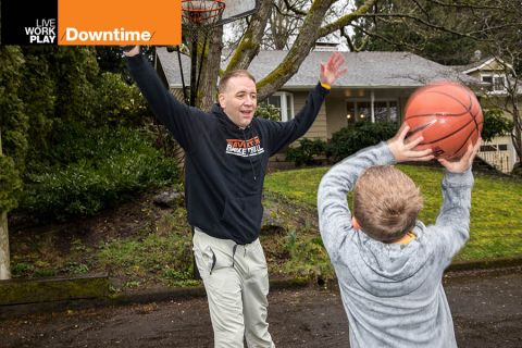 Oregon State Treasurer Tobias Read shoots hoops with his kids
