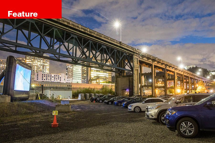 Northwest Film Center and Portland Art Museum's drive-in screening of Xanadu at Zidell Yards next to the Ross Island Bridge