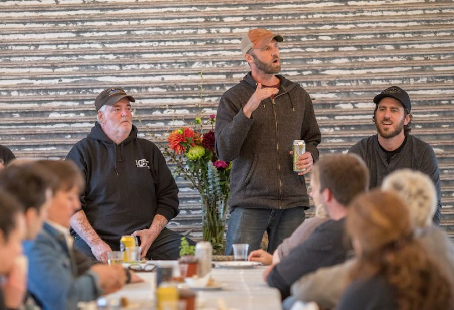Jared Gardner, Nehalem River Ranch, leads a panel discussion on farm and fish producers.
