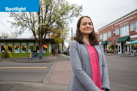 Erika Fitzgerald, senior economic development specialist, in historic downtown Gresham