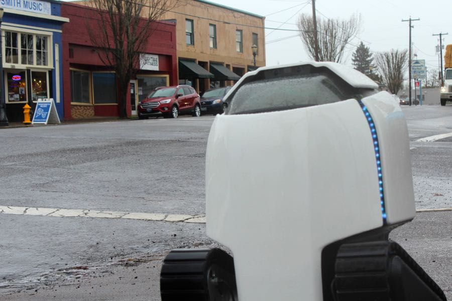 DAX, a small delivery robot, calls Philomath home