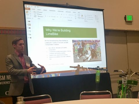 A LimeBike representative speaks at the Urbanism Next Conference