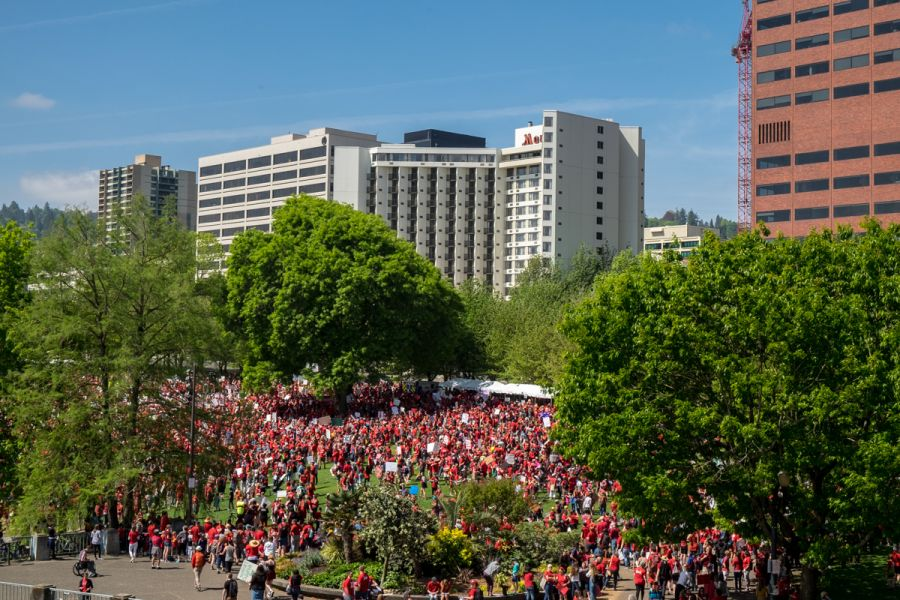 Oregon Education Association and KNRK Radio estimated that more 20,000 people gathered in Tom McCall Waterfront Park to rally for increases in education funding.  People wore red tee shirts sporting the hashtag #RedForEd.