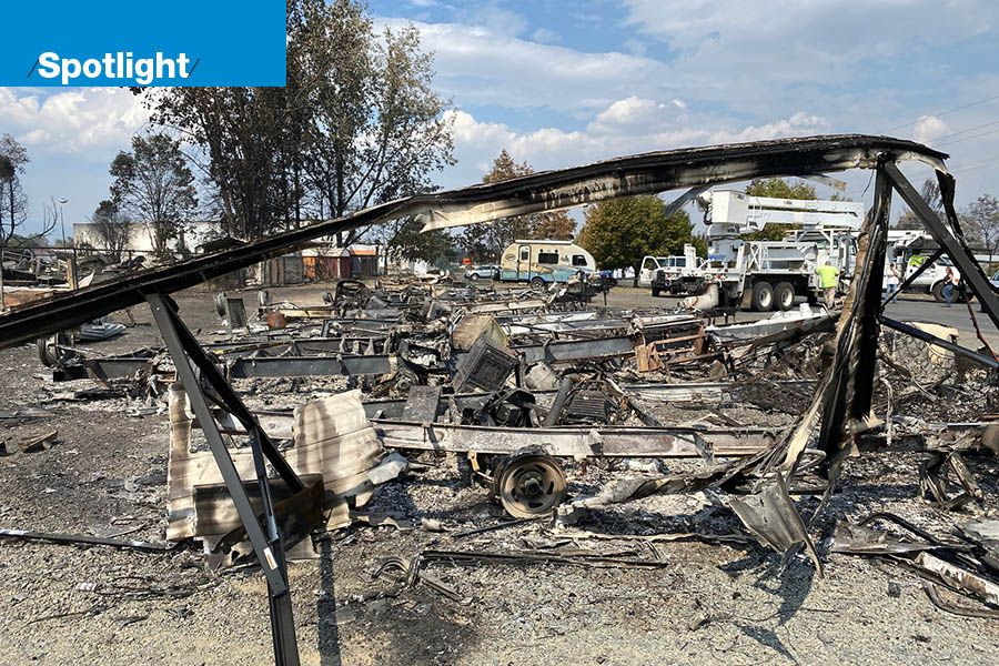 Post-fire site of Sweet Dreams RV Rentals