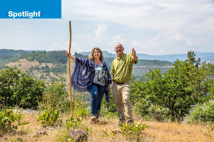 Suzanne Wright Baumhackl and Russell Hargrave are co-founders of Great River, Oregon's first entirely natural cemetery