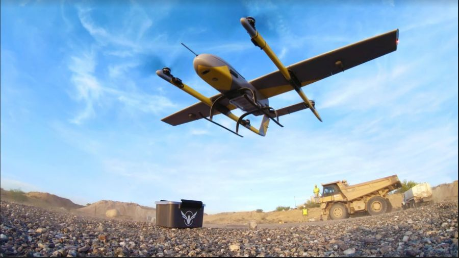 A Volansi drone takes off over a testing site