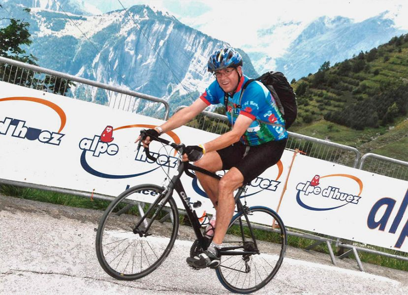 Mark Long, tackling the Alpe d'Huez (July 2011)