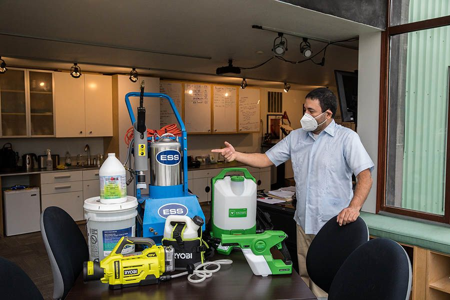 José Barrios, owner of Cleansolution Services, shows the array of cleaning equipment his company uses to address increased sanitization measures.