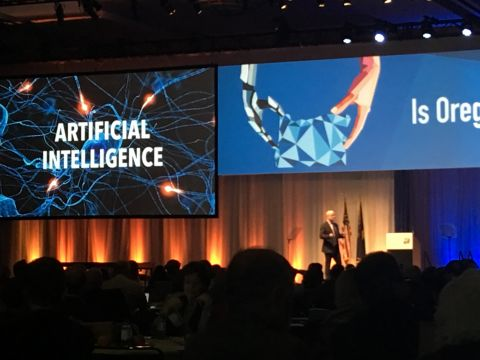 Futurist Steve Brown delivers the keynote address at the Oregon Leadership Summit