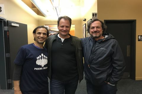"Tim Williams (center) with writer/director Gary Lundgren (right) and actor Jesse Borrego (left) of ""Phoenix, Oregon"""