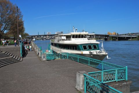 The Portland Spirit docks at the Salmon Springs Fountain, one of the proposed ferry stops.